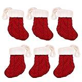 6 Piezas Mini Navidad de Punto Santa calcetín Estilo Cubiertos Cuchillo Tenedor Cuchara de Mesa Titular de Bolsas de Bolsillo Decoraciones de Navidad