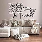 ELGDX Français Citation Amour Amovible Vinyle Mur Autocollant Stickers Murale Mur Art Papier Peint pour Salon Home Decor Maison Décoration