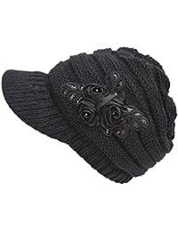 Yuson Girl® Gorra de Punto para Mujer Gorra de Invierno Sombrero de Flores  Espesar Caliente 1d87e54c850