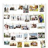 Vencipo Cornice Portafoto Collage per Appendere Foto Wall Décor, Cornici Foto in Legno Multipla con 30 Foto Clips.(Bianco)