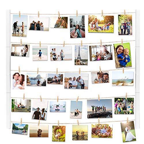 Vencipo Weiß Holz Bilderrahmen Collagen für Wand Deko Wohnzimmer, Vintage Hänge Fotorahmen Organizer mit 30 Mini Wäscheklammern, Dekoration für Kinderzimmer, Babyzimmer, Party, 70x56 cm.