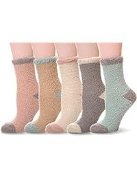 Women Girls Super Soft Microfiber Fuzzy Slipper Socks Winter Warm Cozy Crew Socks 5 Pairs