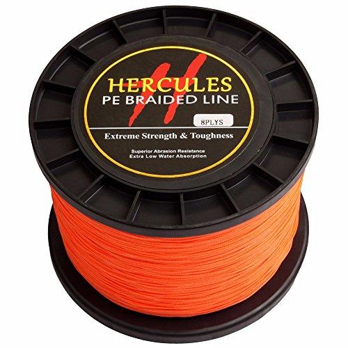 Hercules PE Superline geflochtene Angelschnur 1000?m 10lb-300lb, 8-fach, Herren, Orange, 200lb/90.7kg 0.75mm