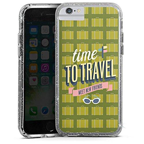 Apple iPhone 8 Bumper Hülle Bumper Case Glitzer Hülle Urlaub Freunde Friends Bumper Case Glitzer silber