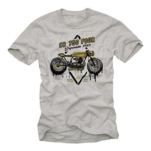 Abbigliamento Motociclista - Honda CB 750 Maglietta - T-Shirt Biker Uomo - Regali Originali Grigio L