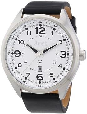 Just Watches Herren-Armbanduhr XL Analog Quarz Leder 48-S1231-WH