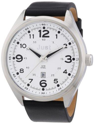 Just Watches 48-S1231-WH - Orologio da polso uomo, pelle, colore: nero