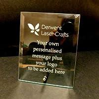 Personalised Engraved Glass Plaque Achievement Award Desktop Sign Promotion