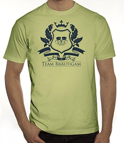 Junggesellenabschieds JGA Hochzeit Herren T-Shirt Wappen Team Bräutigam Limone