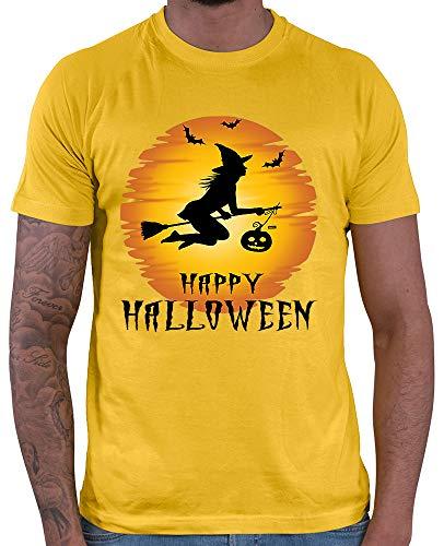 HARIZ  Herren T-Shirt Happy Halloween Hexe Mond Kürbis Halloween Kostüm Horror Karneval Inkl. Geschenk Karte Gold Gelb 3XL