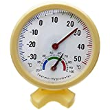 Thermometre hygrometre aiguille Cadran rond TESTEUR exterieur interieur jaune