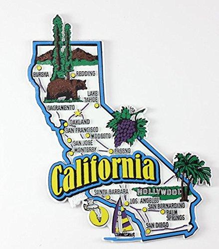 California State Karte und Sehenswürdigkeiten Collage Kühlschrank Collectible Souvenir Magnet FMC (Karten California)
