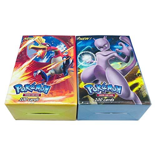 Generic 2019 neu; 200 Karteikarten, Pokémon-Sammelkarte amePokémon-Karte GX + EX + Mega + Energy + Trainer & 3 passende Modi zur Auswahl Pokémon-Kartenspiel,189GX+11Trainer