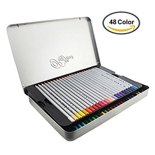 Feelily 48 Farben Buntstifte Set Marco Raffine Farbstifte with Silver Metal Tin, Kunst Bleistifte für Kind / Erwachsener / Künstler / Coloring Liebhaber Skizzieren, Zeichnen und Malen