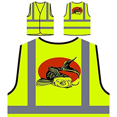 Fish Fisherman Koi Carp Fishing Funny Novelty Personalized Hi Visibility Yellow Safety Jacket Vest Waistcoat rr71v by INNOGLEN
