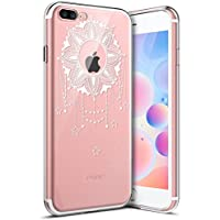 Carcasa iPhone 8,Funda iPhone 8,Funda iPhone 8,Surakey Suave Ultra Slim TPU Transparente Funda Cubierta de Gel Silicona de Ultra Delgado Impresión de Estuche Carcasa Trasera Para Apple iPhone 8, Funda para iPhone 8, Case Cover el iPhone 8 (Claro),Crystal Tapa Alta Calidad Case Cover Flexible Bumper Parachoques Funda Smartphone Accesorios Caja del Teléfono para Apple iPhone 8 , Impresión Flor Mandala Patrón (Blanco Transparente ),Flor & Estrella