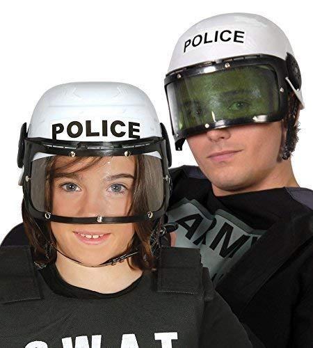 Fancy Me Herren Damen Weiß Riot Polizei Helm Hut mit Sonnenblende Kostüm Kleid Outfit - Riot Polizei Kostüm