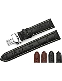 iStrap 22mm Piel de Becerro Estampado Piel Cocodrilo Correas Brazalete de Reloj Pulsera Cierre Desplegable de Mariposa Negro Café Costura