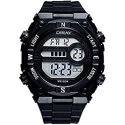 Unisex Sport Watch Multifunction Led Light Digital Waterproof Wristwatch(Black)