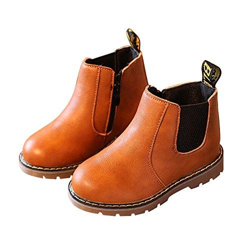 Nasonberg Jungen Mädchen Winter Leder Schneestiefel Warme weiche Winterschuhe Boots für Kinder Baby, Braun, 25 EU=Innenlänge 14,5CM