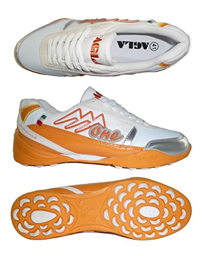 AGLA PROFESSIONAL ONE EXE OUTDOOR scarpe calcetto futsal calcio a 5 anti-shock system (41 EU, White/Orange)