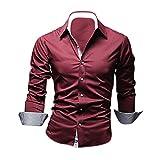 SODIAL(R) Mode Hommes Luxe Manche Longue Casual Mince Fit Tenu Elegante Chemises Rouge Vineux L