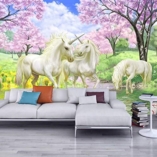 VVNASD 3D Aufkleber Tapete Wandbilder Dekorationen Wand Unicorn Dream Cherry Blossom Hintergrundbild Kinderzimmer Schlafzimmer Wohnzimmer Kunst Kinder Zimmer (W) 300X(H) 210Cm (Prinzessin Blossom Cherry)