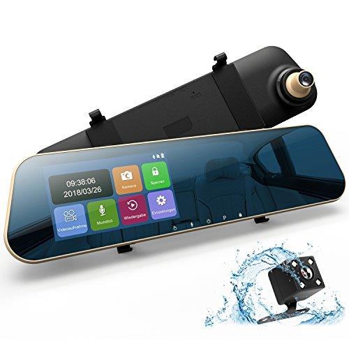 """DuDuBell Rückspiegel Kamera Dashcam Autokamera mit RückfahrkameraFull HD 1080P Dual Lens 4,3\"""" Touchscreen 170° Weitwinkel G-Sensor Loop-Aufnahme Parküberwachung Bewegungserkennung"""