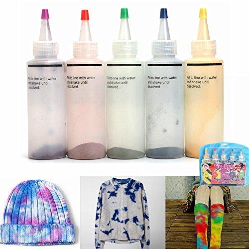 Tie-Dye-Kit, essort Stoff Textil Farben Tie Dye Kit Vibrant Stoff Textil Permanent Farben mit 20 Stück Gummi Band und 4 Paar Vinyl Handschuhe (Textil-band)