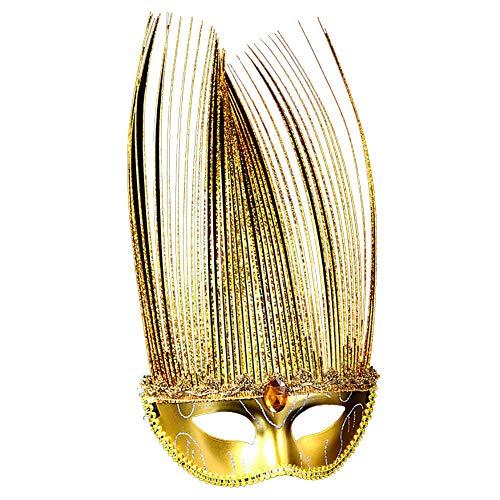 1 x glänzende Schmetterlingsmaske für Kinder, für Halloween, Maskerade (Gold)