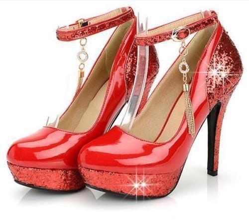 XINJING-S Bowknot Tacchi Alti scarpe matrimonio partito donne tacchi pompe OL vestono scarpe Sandali Rosso