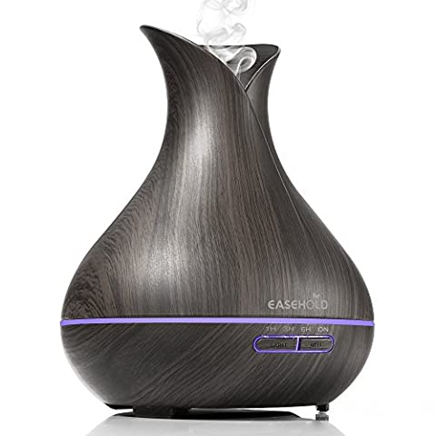 Easehold Aroma Diffuser, 400ml Essential Oil Diffuser Ultrasonic Humidifier Super Quiet Cool Mist Humidifier Air Purifier 7 Color LED Light for Office Home Bedroom Wood Grain Vase Shape (Dark
