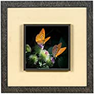 Wens 'Butterfly with Flowers Embossed' Wall Art Painting (Synthetic Wood, 33 cm x 33 cm