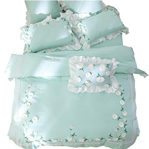 Bettbezug japanischen Stil Baumwolle Bett Rock Bettbezug Sets Tagesdecken Doppelgarn dreidimensionale Gänseblümchen pastoralen Bettwäsche,King 220*240cm (Japanische Bettwäsche-sets Königin)
