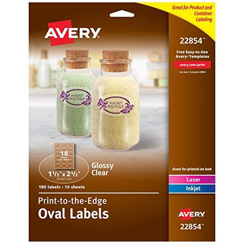 Avery 22854 Ovale Etiketten für Laser- und Tintenstrahldrucker, 3,8 x 6,3 cm, 180 Stück, kristallklare glänzend - Avery-etiketten-oval
