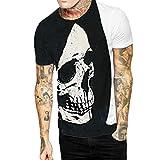 POachers Homme T-Shirts Manches Courte Col Rond Ete 3D Tete Mort Pattern Tee Shirt pour Homme Casual Lâche Sportwear Haut Mode Tops Taille S-3XL