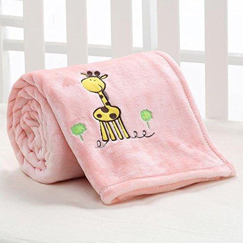 YAOHAOHAO Pink Giraffe Pattern Babydecke Decke Polyester Material Winter Kindergarten Konzipiert für Baby (100*150cm)