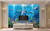 Wh-Porp 3D Wallpaper Benutzerdefinierte Wandbild Wand Tuch Meer Welt Mauer Delfin Hintergrund Wand Tapete Für Wände 3 D Fototapete-300Cmx210Cm