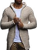 LEIF NELSON Herren Jacke Hoodie Strickjacke Pullover Kapuzenpullover Jacke Sweatjacke Zipper Sweatshirt Strick LN20731; Größe M, Beige