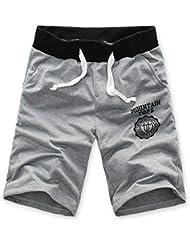 Tongshi Moda algodón de los hombres pantalones cortos gimnasia del deporte que activan los pantalones ocasionales (Gris, 31/L)