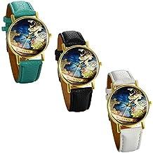 JewelryWe 3pcs Relojes de Pulsera de Mujer Mapamundi Antiguo, Correa de Cuero Retro Vintage, Azul Reloj Cuarzo Analogico Buen Regalo Para Mujeres