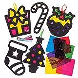 """Baker Ross Bastelsets """"Weihnachten"""" mit Buntglaseffekt für Kinder – perfekt für weihnachtliche Bastelarbeiten und Dekorationen (6 Stück)"""