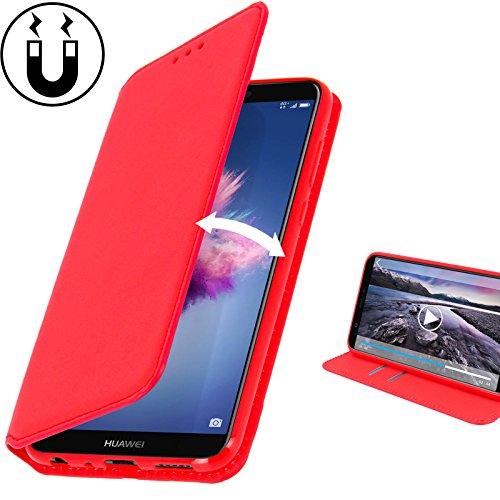 Huawei Y6 2018 Hülle AURSTORE Handyhülle Huawei Y6 2018 Tasche Leder Flip Case Brieftasche Etui Schutzhülle für Huawei Y6 2018 (ROT)