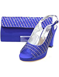 W & W Femmes Cristal Diamante Chaussures et Sac Assorti Taille 3 HNB3xdC