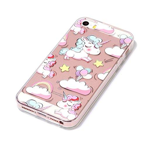 Fodlon® Katze Transparent Weich Hülle für Apple iphone5/5s/5c Wolken Einhorn