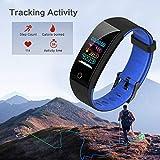 Juboury Fitness Armband mit Pulsmesser Blutdruckmesser, Fitness Tracker Smartwatch Wasserdicht IP68 Aktivitätstracker Schrittzähler Uhr Damen Herren Farbbildschirm SMS für iPhone Android Handy - 2
