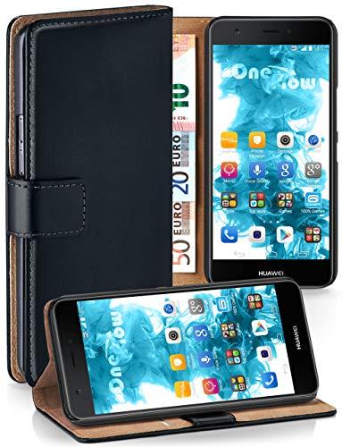 moex® Booklet mit Flip Funktion [360 Grad Voll-Schutz] für Huawei Nova | Geldfach & Kartenfach + Stand-Funktion & Magnet-Verschluss, Schwarz