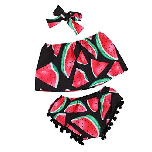 Wassermelone Bekleidung (Bekleidung Longra Sommer Kleinkind Baby Mädchen Kleidung Wassermelone Kid Tops + Shorts + Stirnbänder Outfits Sunsuit Kleider(0-24Monate) (110CM 3Jahre, Red))