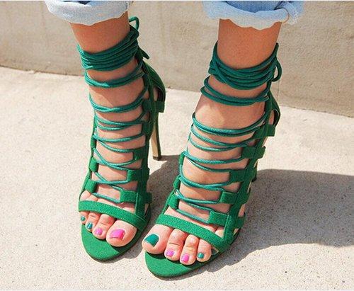 Tacchi alti con un bel Taste Of Roma Nightclub lacci incrociati di piccole dimensioni sandali Combinazione Green