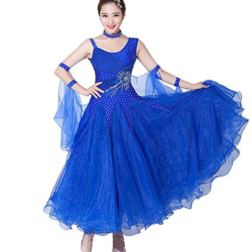 MoLiYanZi Walzer Tango Tanzen Kleidung für Frauen Performance Ballsaal-Tanz-Kleid Turnanzug Wettbewerb Tanzbekleidung Bekleidung und Accessoires Große Schaukel, Blue, XXL